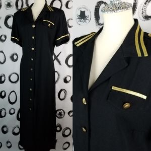 Vintage 70s 80s Military Style Dress Button Down